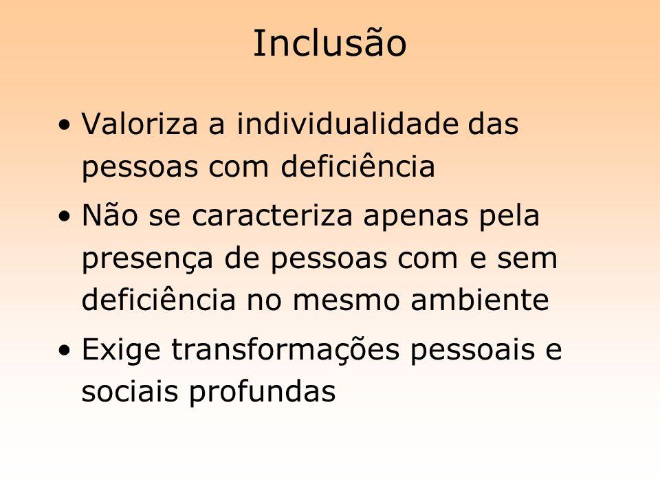 Inclusão Valoriza a individualidade das pessoas com deficiência Não se caracteriza apenas pela presença de pessoas com e sem deficiência no mesmo ambi