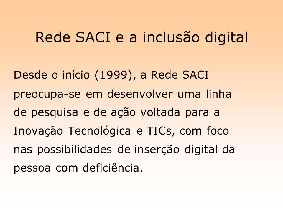 Rede SACI e a inclusão digital Desde o início (1999), a Rede SACI preocupa-se em desenvolver uma linha de pesquisa e de ação voltada para a Inovação T