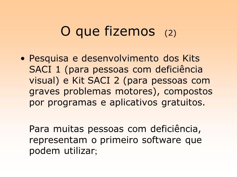 O que fizemos (2) Pesquisa e desenvolvimento dos Kits SACI 1 (para pessoas com deficiência visual) e Kit SACI 2 (para pessoas com graves problemas mot