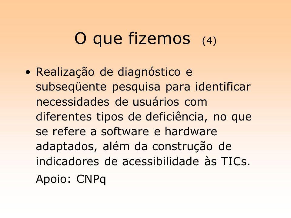 O que fizemos (4) Realização de diagnóstico e subseqüente pesquisa para identificar necessidades de usuários com diferentes tipos de deficiência, no q