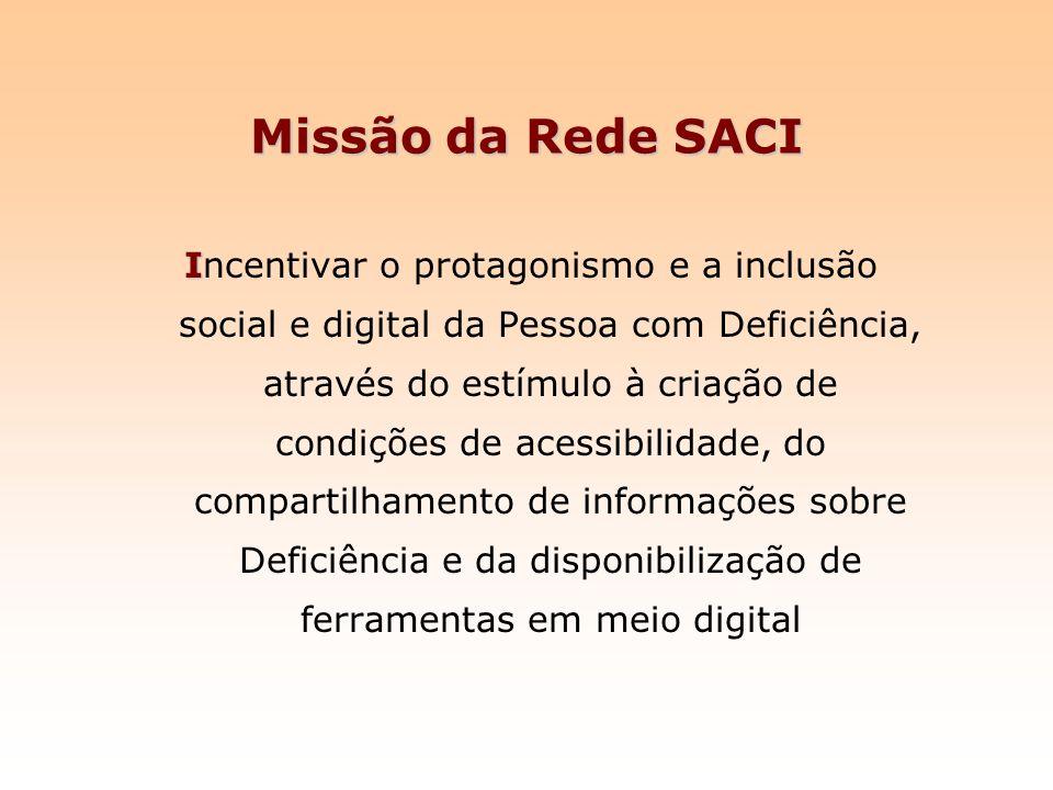 Missão da Rede SACI I Incentivar o protagonismo e a inclusão social e digital da Pessoa com Deficiência, através do estímulo à criação de condições de