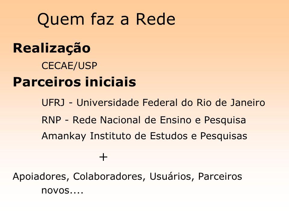 Quem faz a Rede Realização CECAE/USP Parceiros iniciais UFRJ - Universidade Federal do Rio de Janeiro RNP - Rede Nacional de Ensino e Pesquisa Amankay