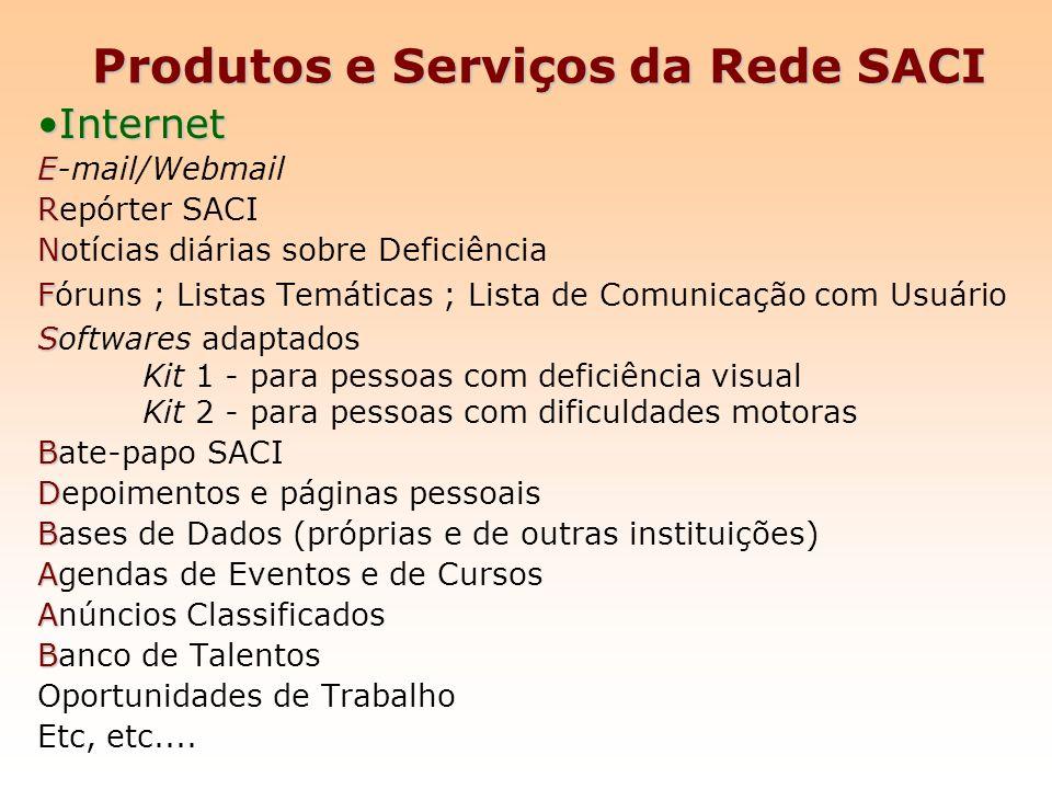Produtos e Serviços da Rede SACI InternetInternet E E-mail/Webmail R Repórter SACI N Notícias diárias sobre Deficiência F Fóruns ; Listas Temáticas ;