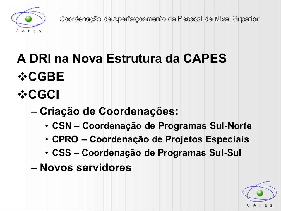 A DRI na Nova Estrutura da CAPES CGBE CGCI –Criação de Coordenações: CSN – Coordenação de Programas Sul-Norte CPRO – Coordenação de Projetos Especiais