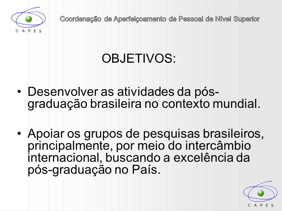 OBJETIVOS: Desenvolver as atividades da pós- graduação brasileira no contexto mundial. Apoiar os grupos de pesquisas brasileiros, principalmente, por