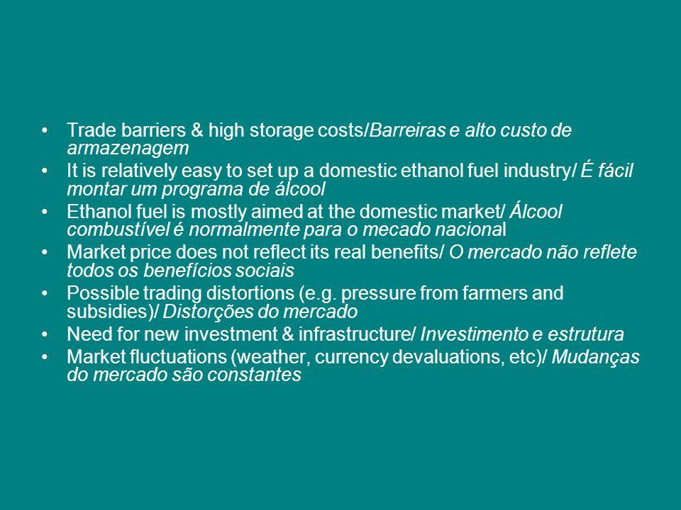 Trade barriers & high storage costs/Barreiras e alto custo de armazenagem It is relatively easy to set up a domestic ethanol fuel industry/ É fácil mo