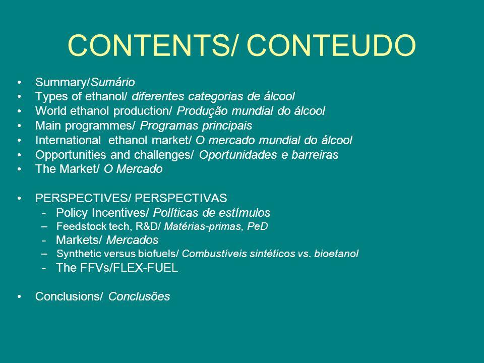 CONTENTS/ CONTEUDO Summary/Sumário Types of ethanol/ diferentes categorias de álcool World ethanol production/ Produção mundial do álcool Main program