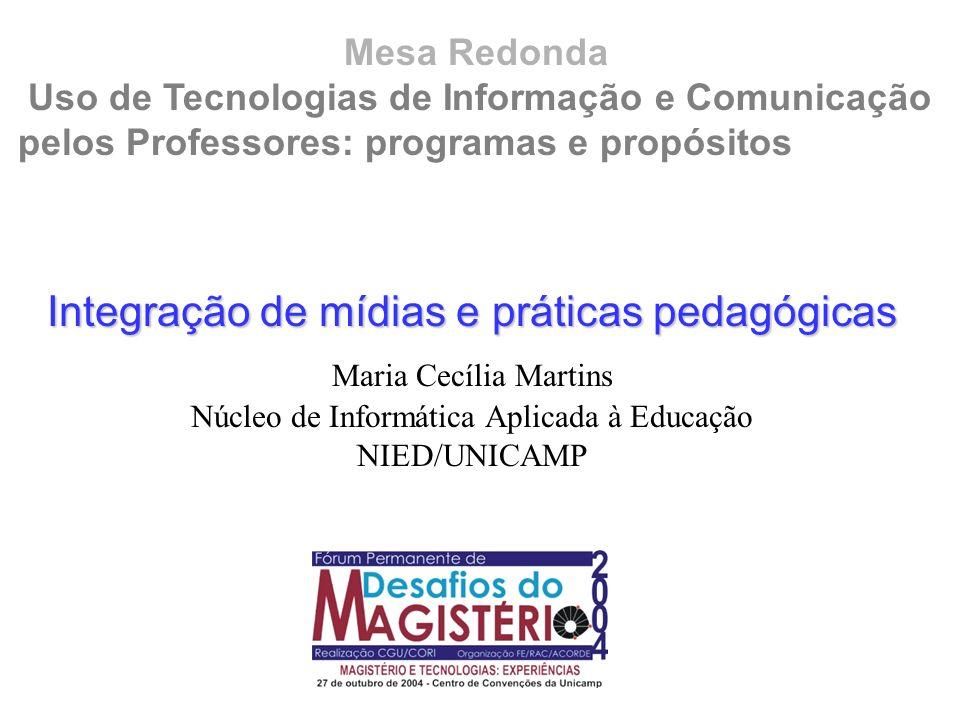 Mesa Redonda Uso de Tecnologias de Informação e Comunicação pelos Professores: programas e propósitos Integração de mídias e práticas pedagógicas Mari