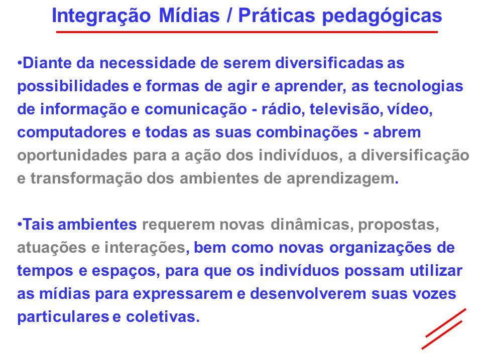 Integração Mídias / Práticas pedagógicas Diante da necessidade de serem diversificadas as possibilidades e formas de agir e aprender, as tecnologias d