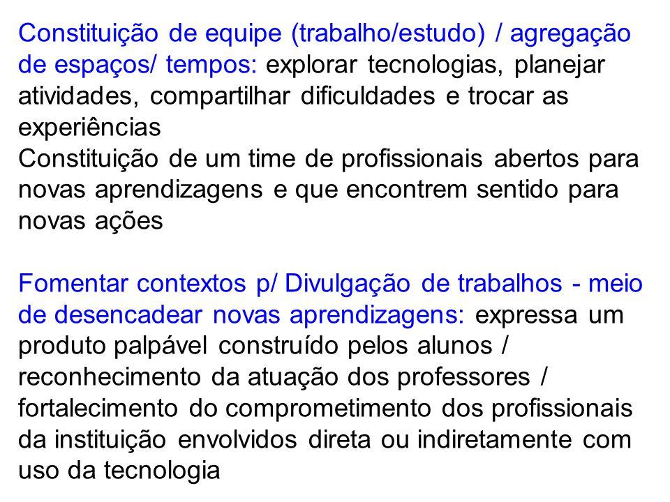 Constituição de equipe (trabalho/estudo) / agregação de espaços/ tempos: explorar tecnologias, planejar atividades, compartilhar dificuldades e trocar