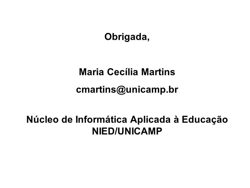 Obrigada, Maria Cecília Martins cmartins@unicamp.br Núcleo de Informática Aplicada à Educação NIED/UNICAMP