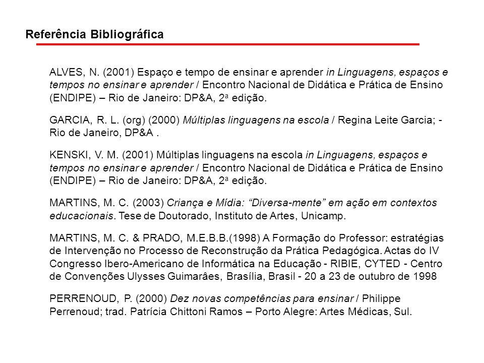 Referência Bibliográfica ALVES, N. (2001) Espaço e tempo de ensinar e aprender in Linguagens, espaços e tempos no ensinar e aprender / Encontro Nacion
