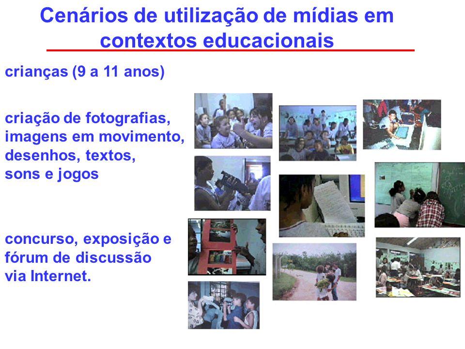 Cenários de utilização de mídias em contextos educacionais crianças (9 a 11 anos) criação de fotografias, imagens em movimento, desenhos, textos, sons