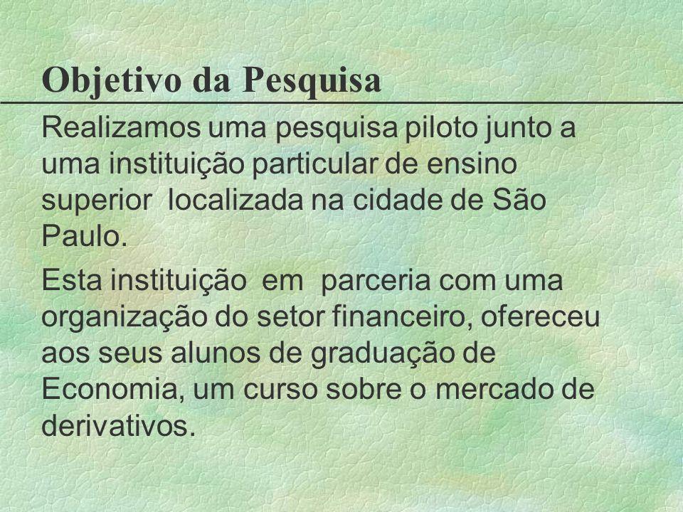 Objetivo da Pesquisa Realizamos uma pesquisa piloto junto a uma instituição particular de ensino superior localizada na cidade de São Paulo. Esta inst