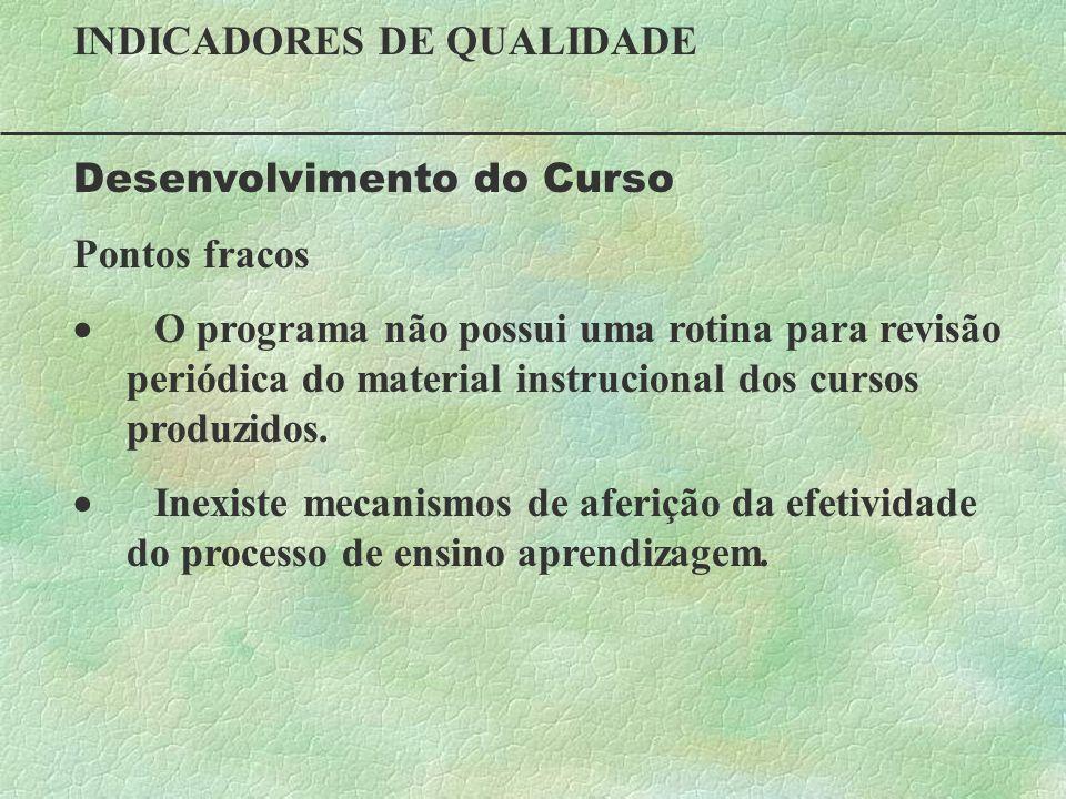INDICADORES DE QUALIDADE Desenvolvimento do Curso Pontos fracos O programa não possui uma rotina para revisão periódica do material instrucional dos c
