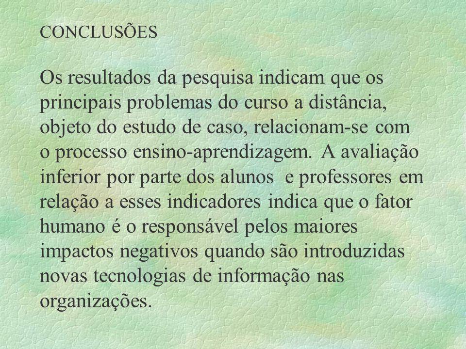 CONCLUSÕES Os resultados da pesquisa indicam que os principais problemas do curso a distância, objeto do estudo de caso, relacionam-se com o processo