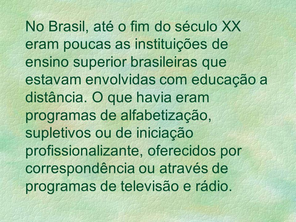No Brasil, até o fim do século XX eram poucas as instituições de ensino superior brasileiras que estavam envolvidas com educação a distância. O que ha