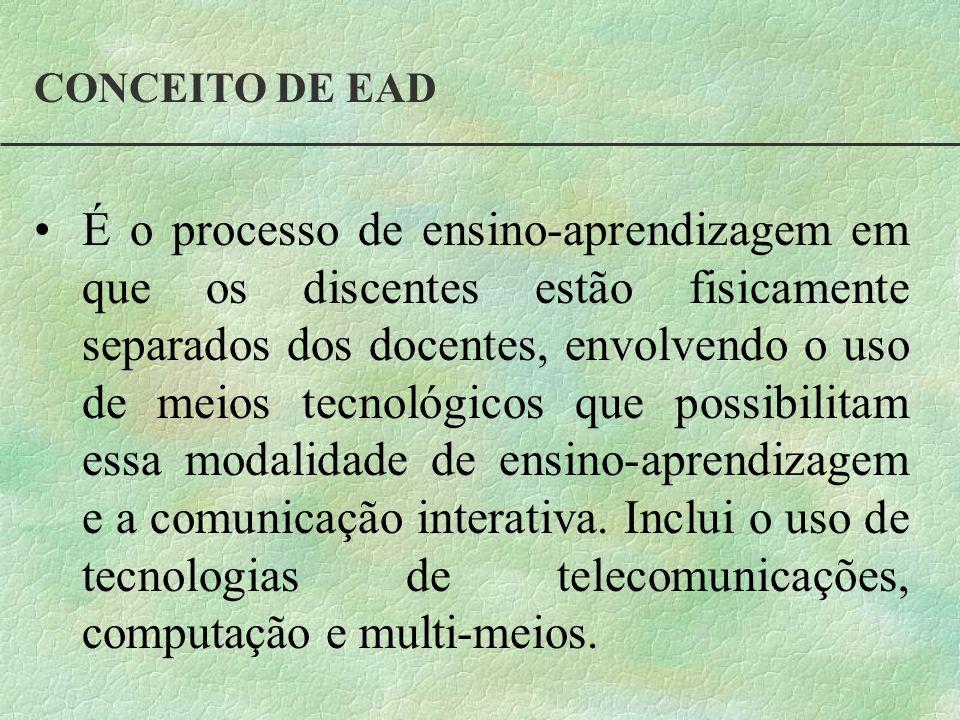 CONCEITO DE EAD É o processo de ensino-aprendizagem em que os discentes estão fisicamente separados dos docentes, envolvendo o uso de meios tecnológic