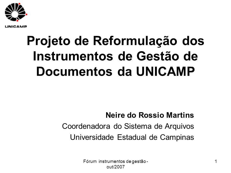 Fórum instrumentos de gestão - out/2007 1 Projeto de Reformulação dos Instrumentos de Gestão de Documentos da UNICAMP Neire do Rossio Martins Coordena