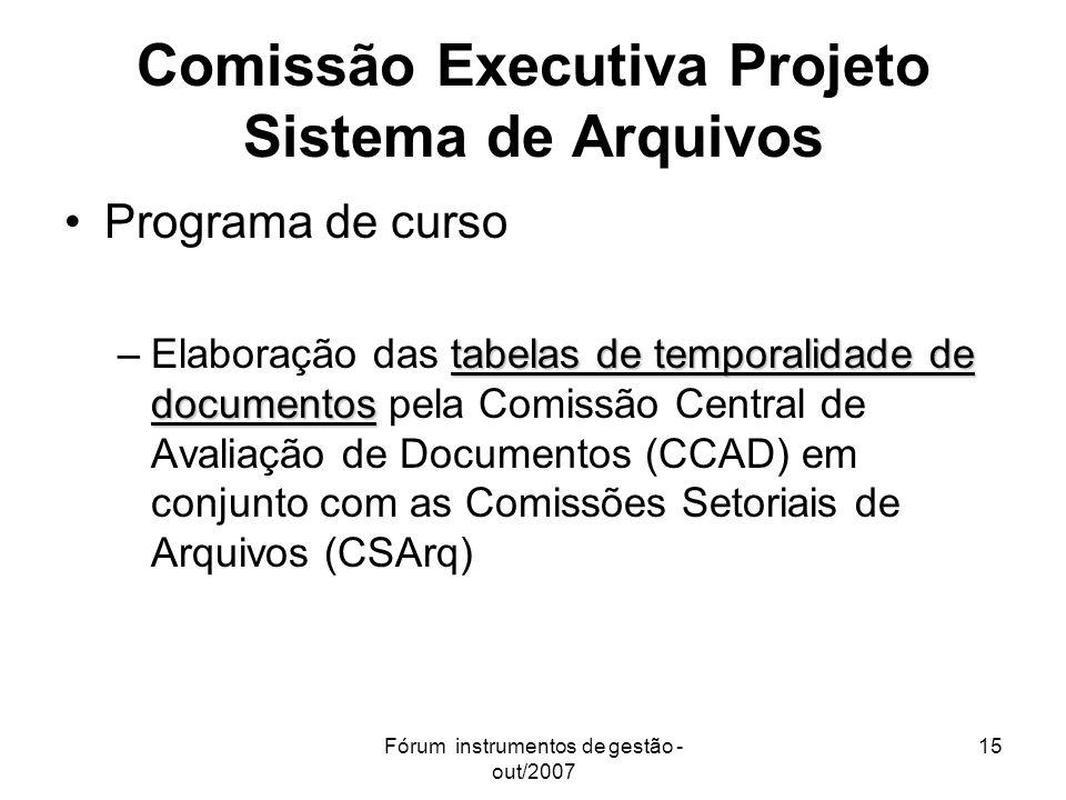 Fórum instrumentos de gestão - out/2007 15 Comissão Executiva Projeto Sistema de Arquivos Programa de curso tabelas de temporalidade de documentos –El
