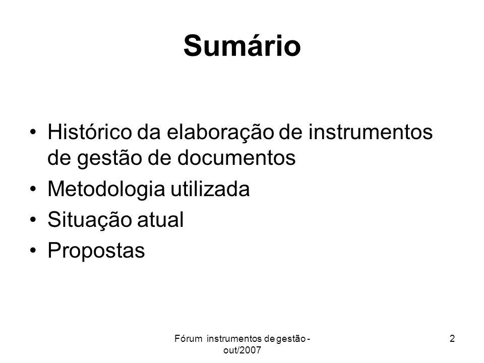 Fórum instrumentos de gestão - out/2007 2 Sumário Histórico da elaboração de instrumentos de gestão de documentos Metodologia utilizada Situação atual