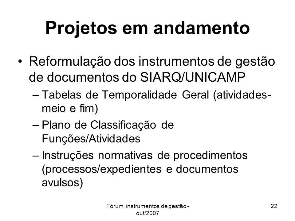 Fórum instrumentos de gestão - out/2007 22 Projetos em andamento Reformulação dos instrumentos de gestão de documentos do SIARQ/UNICAMP –Tabelas de Te
