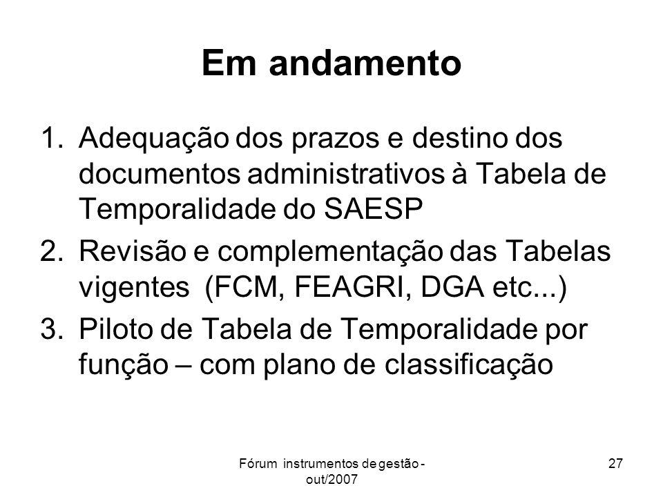 Fórum instrumentos de gestão - out/2007 27 Em andamento 1.Adequação dos prazos e destino dos documentos administrativos à Tabela de Temporalidade do S