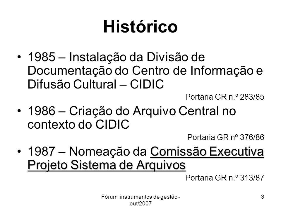 Fórum instrumentos de gestão - out/2007 3 Histórico 1985 – Instalação da Divisão de Documentação do Centro de Informação e Difusão Cultural – CIDIC Po