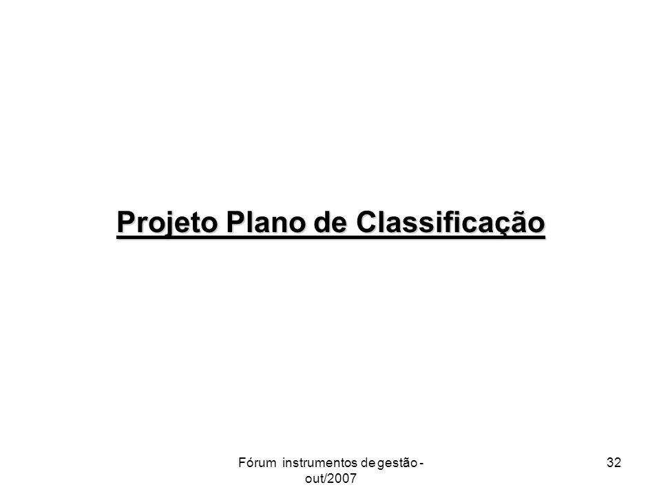 Fórum instrumentos de gestão - out/2007 32 Projeto Plano de Classificação
