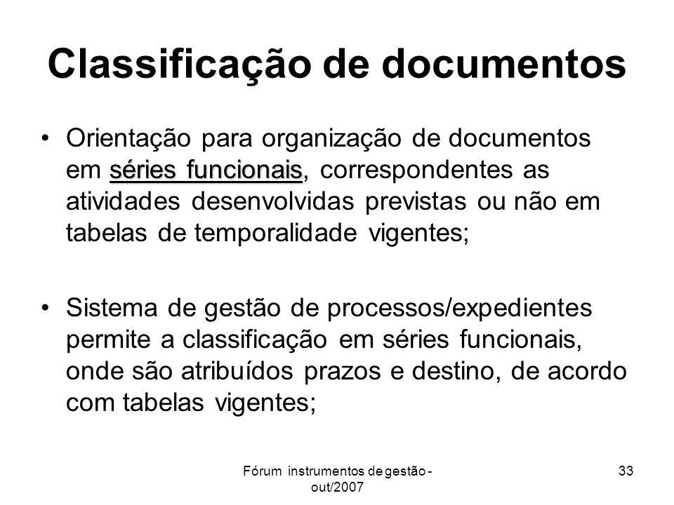 Fórum instrumentos de gestão - out/2007 33 Classificação de documentos séries funcionaisOrientação para organização de documentos em séries funcionais