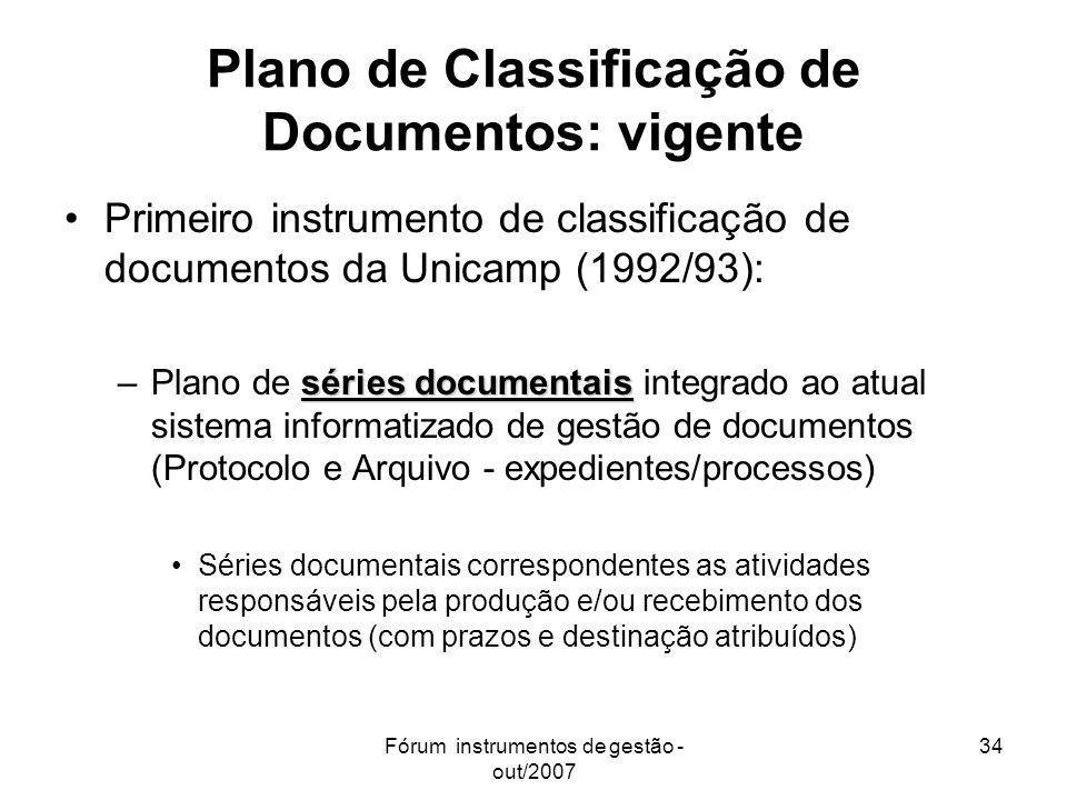 Fórum instrumentos de gestão - out/2007 34 Plano de Classificação de Documentos: vigente Primeiro instrumento de classificação de documentos da Unicam