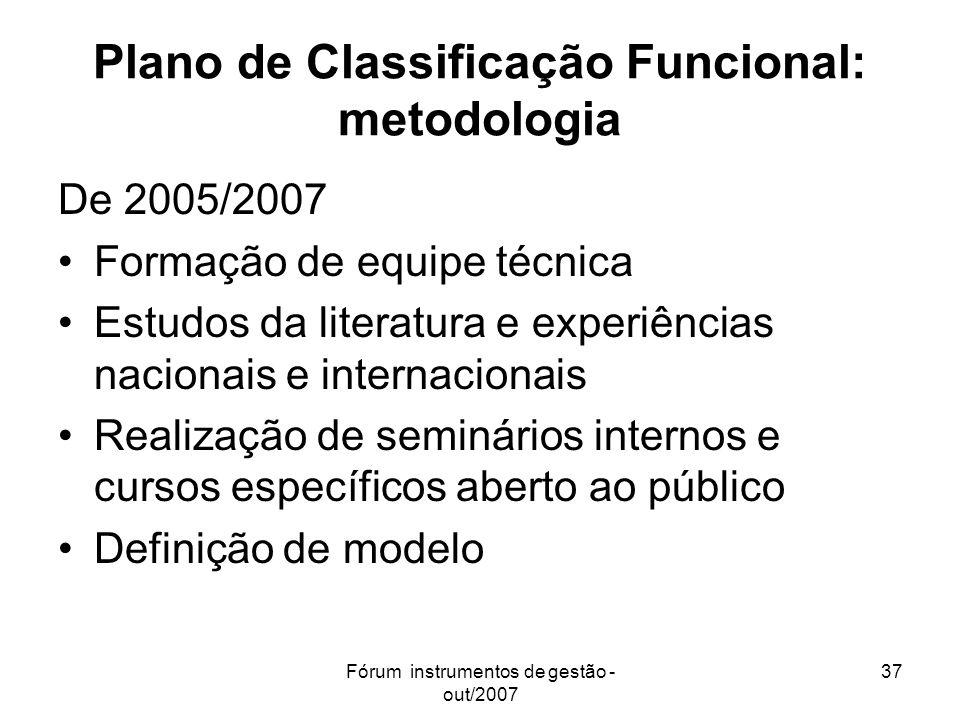 Fórum instrumentos de gestão - out/2007 37 Plano de Classificação Funcional: metodologia De 2005/2007 Formação de equipe técnica Estudos da literatura