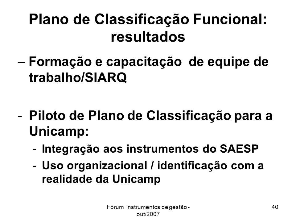 Fórum instrumentos de gestão - out/2007 40 Plano de Classificação Funcional: resultados – Formação e capacitação de equipe de trabalho/SIARQ -Piloto d
