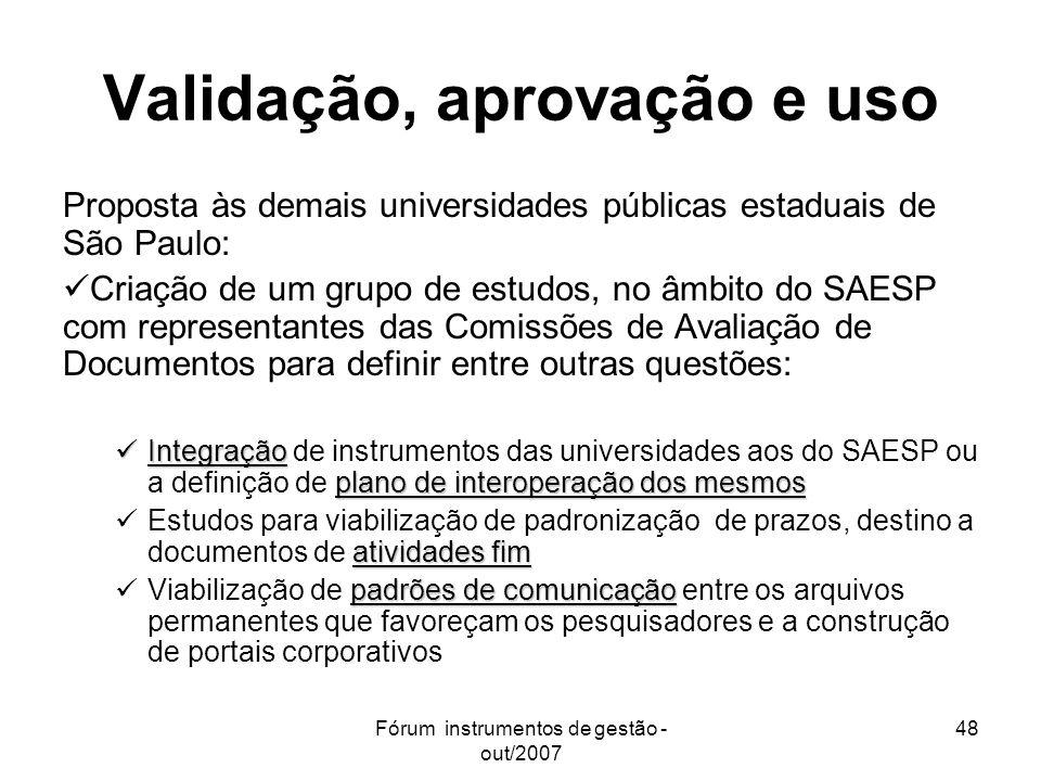 Fórum instrumentos de gestão - out/2007 48 Validação, aprovação e uso Proposta às demais universidades públicas estaduais de São Paulo: Criação de um