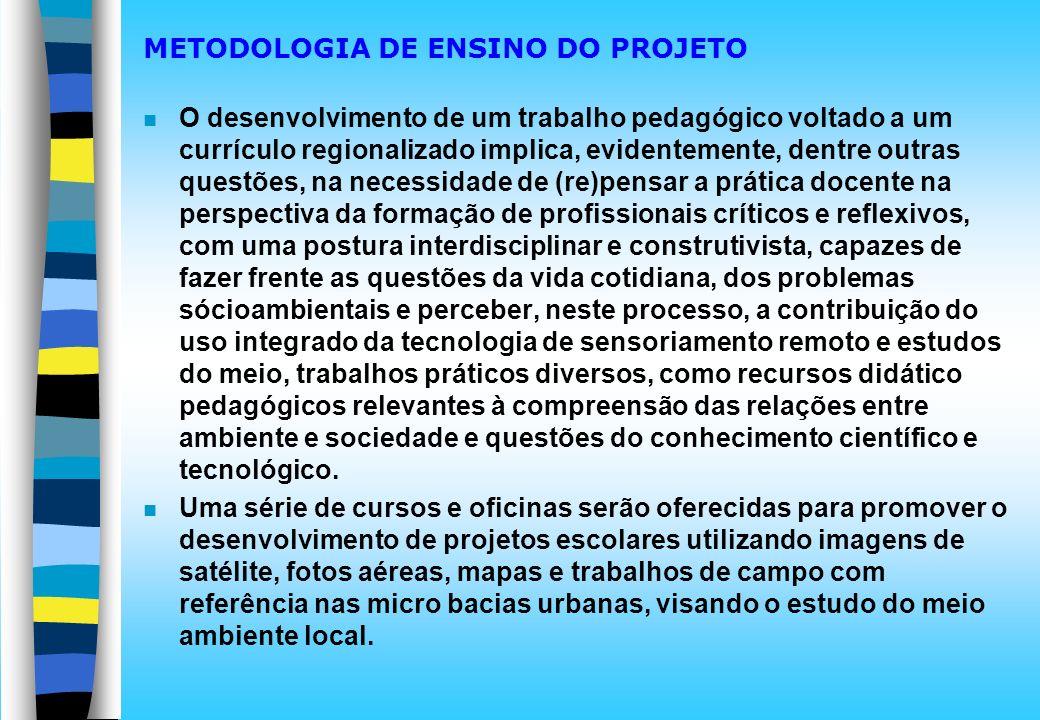 METODOLOGIA DE ENSINO DO PROJETO n O desenvolvimento de um trabalho pedagógico voltado a um currículo regionalizado implica, evidentemente, dentre out