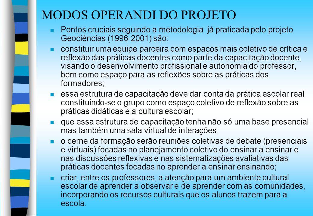 MODOS OPERANDI DO PROJETO n Pontos cruciais seguindo a metodologia já praticada pelo projeto Geociências (1996-2001) são: n constituir uma equipe parc