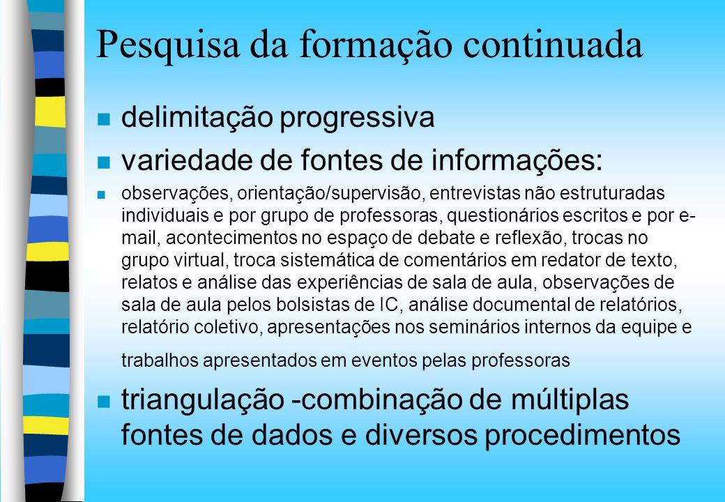 Pesquisa da formação continuada n delimitação progressiva n variedade de fontes de informações: n observações, orientação/supervisão, entrevistas não