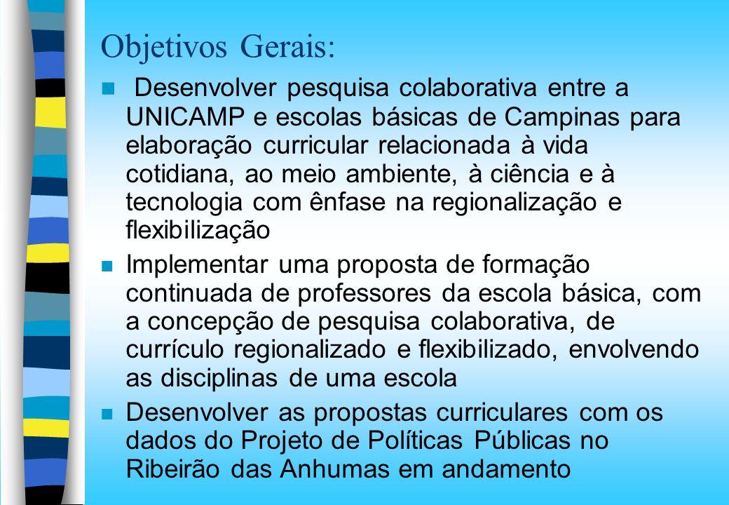 Objetivos Gerais: n Desenvolver pesquisa colaborativa entre a UNICAMP e escolas básicas de Campinas para elaboração curricular relacionada à vida coti