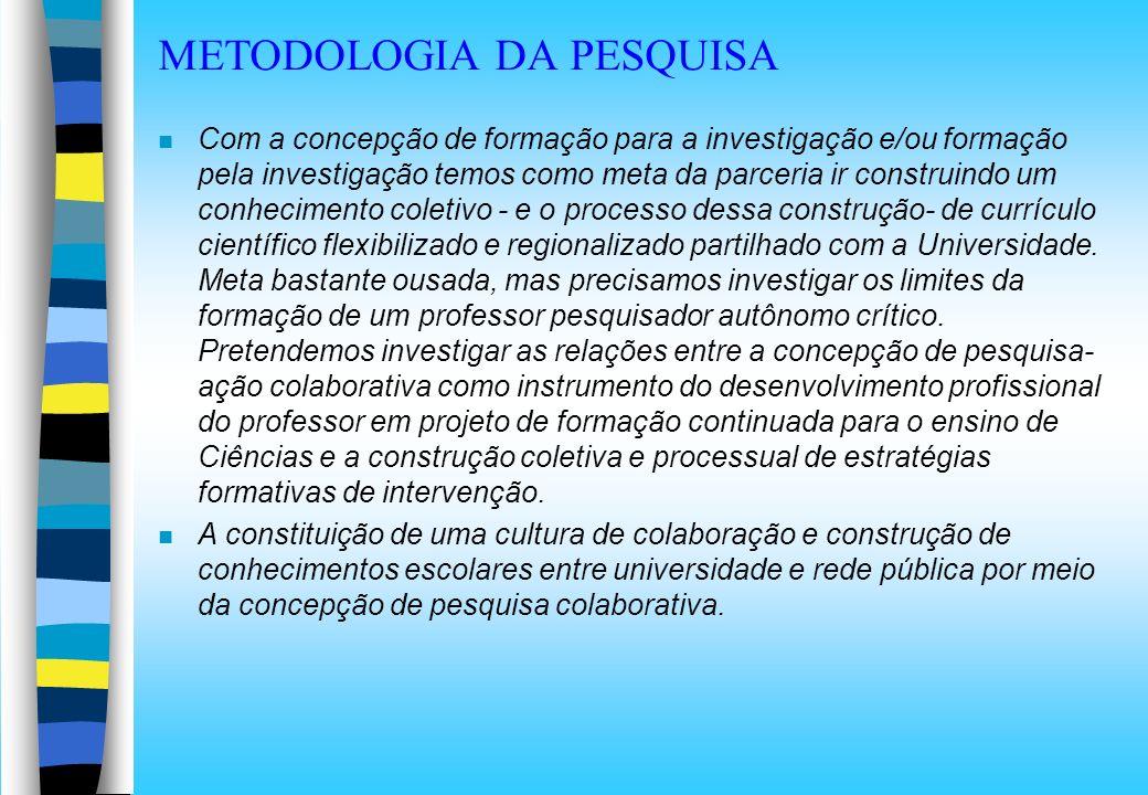 METODOLOGIA DA PESQUISA n Com a concepção de formação para a investigação e/ou formação pela investigação temos como meta da parceria ir construindo u