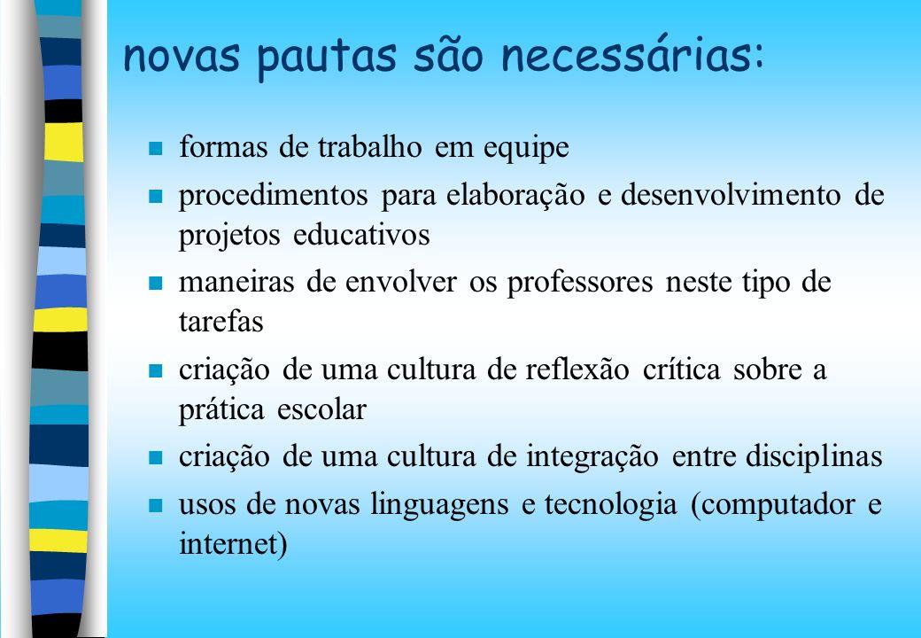 novas pautas são necessárias: formas de trabalho em equipe procedimentos para elaboração e desenvolvimento de projetos educativos maneiras de envolver