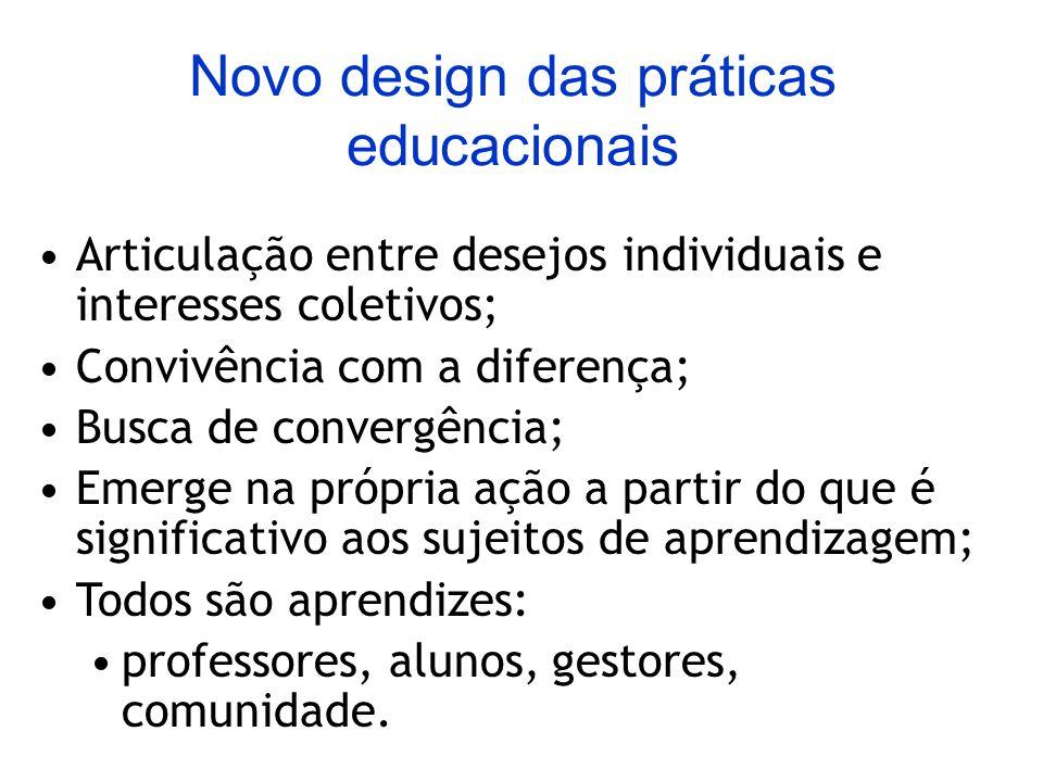 Novo design das práticas educacionais Articulação entre desejos individuais e interesses coletivos; Convivência com a diferença; Busca de convergência