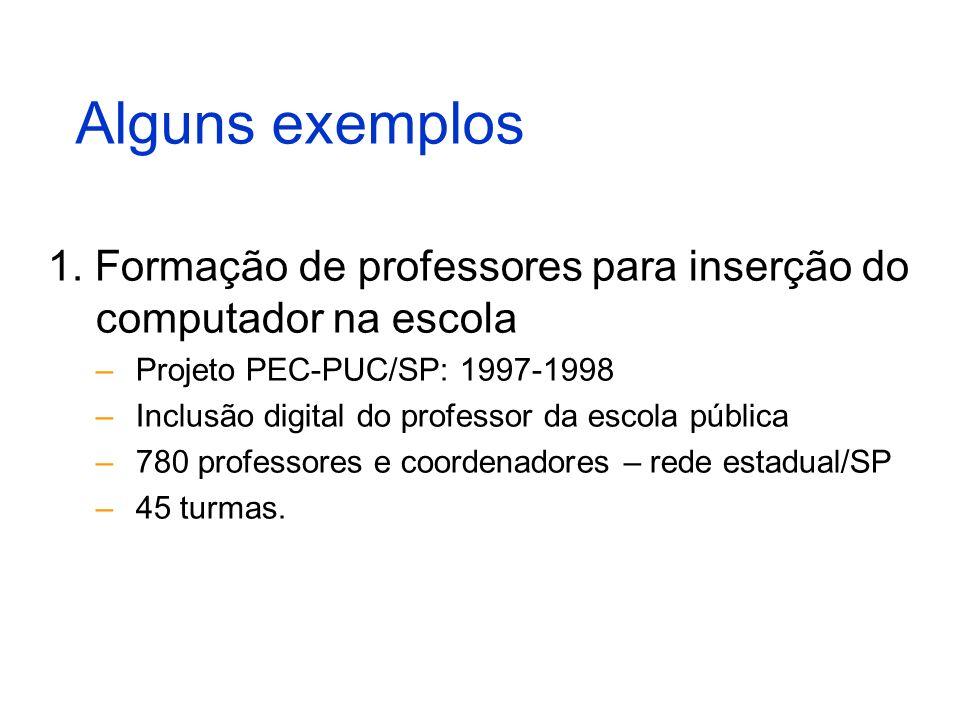 Alguns exemplos 1. Formação de professores para inserção do computador na escola –Projeto PEC-PUC/SP: 1997-1998 –Inclusão digital do professor da esco