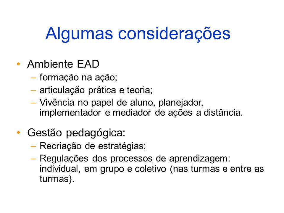 Algumas considerações Ambiente EAD –formação na ação; –articulação prática e teoria; –Vivência no papel de aluno, planejador, implementador e mediador