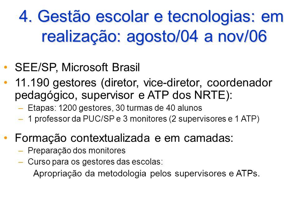 4. Gestão escolar e tecnologias: em realização: agosto/04 a nov/06 SEE/SP, Microsoft Brasil 11.190 gestores (diretor, vice-diretor, coordenador pedagó