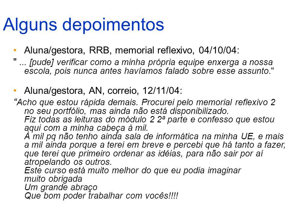 Alguns depoimentos Aluna/gestora, RRB, memorial reflexivo, 04/10/04: