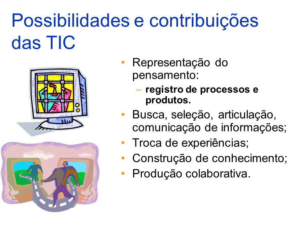 Representação do pensamento: –registro de processos e produtos. Busca, seleção, articulação, comunicação de informações; Troca de experiências; Constr