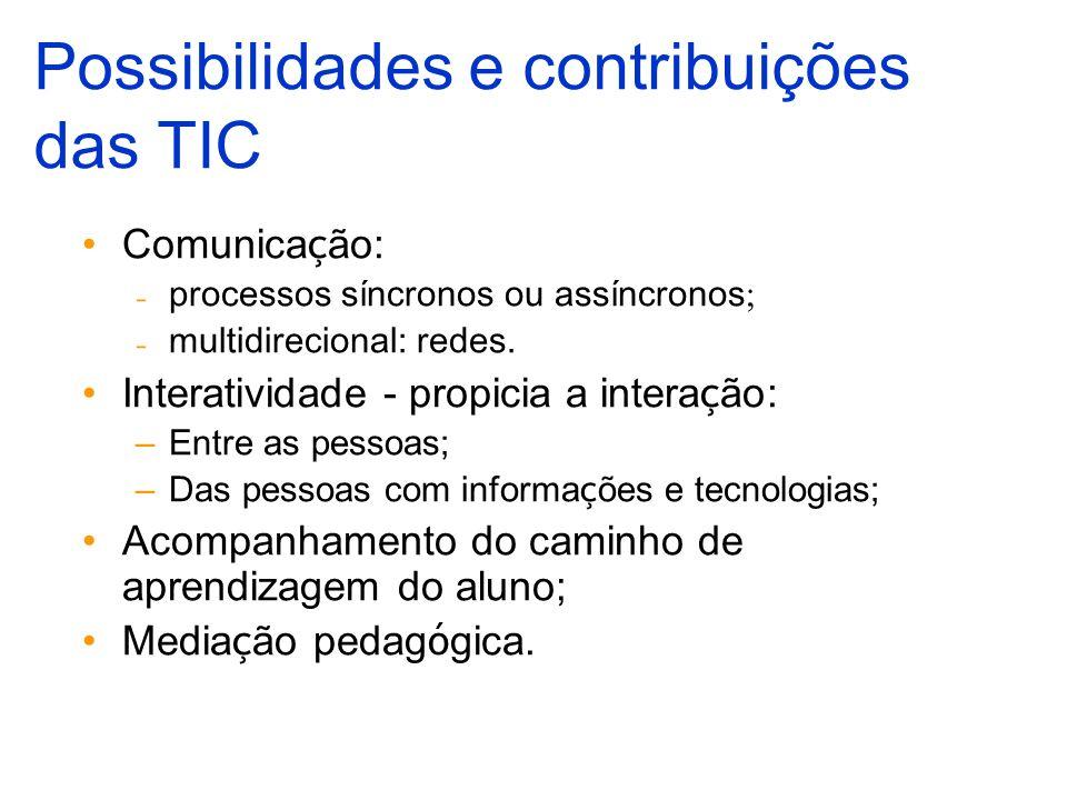 Comunica ç ão: processos síncronos ou assíncronos ; multidirecional: redes. Interatividade - propicia a intera ç ão: –Entre as pessoas; –Das pessoas c