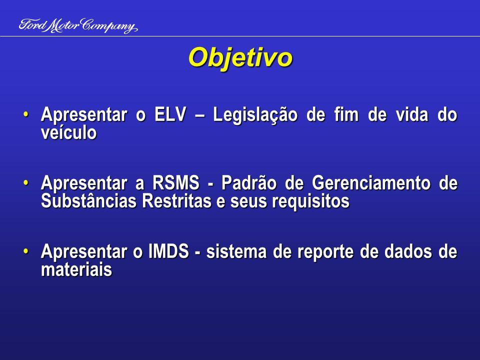 Objetivo Apresentar o ELV – Legislação de fim de vida do veículo Apresentar o ELV – Legislação de fim de vida do veículo Apresentar a RSMS - Padrão de Gerenciamento de Substâncias Restritas e seus requisitos Apresentar a RSMS - Padrão de Gerenciamento de Substâncias Restritas e seus requisitos Apresentar o IMDS - sistema de reporte de dados de materiais Apresentar o IMDS - sistema de reporte de dados de materiais