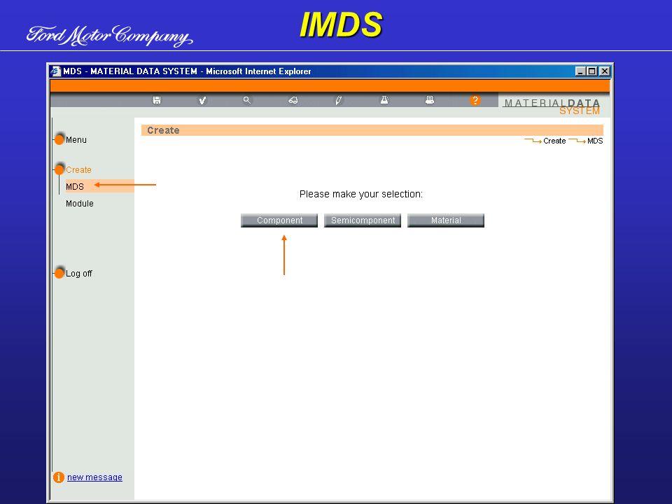 Para criar uma MDS selecione componente, semi-componente ou material.IMDS