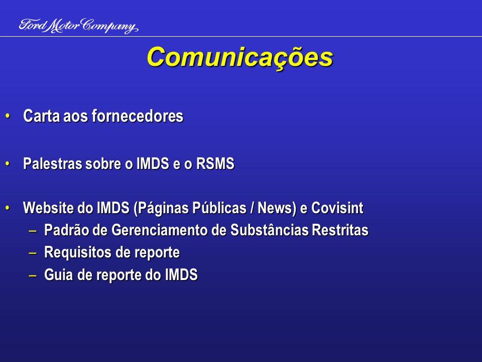 Comunicações Carta aos fornecedores Carta aos fornecedores Palestras sobre o IMDS e o RSMS Palestras sobre o IMDS e o RSMS Website do IMDS (Páginas Pú